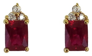 Gold Ruby & Diamond Stud Earrings