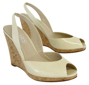 Michael Kors Ivory Patent Leather Cork Wedges