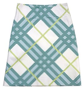Burberry White Blue Green Square Print Skirt