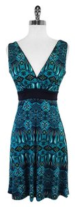 Tory Burch short dress Teal Black Silk Print on Tradesy
