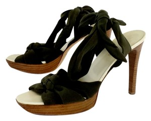 Helmut Lang Olive Green Fabric Tie Up Sandals