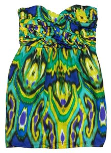 Shoshanna short dress Green Tone Silk Strapless on Tradesy