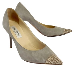 Jimmy Choo Suede Croc Embossed Leather Pumps