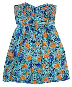 Shoshanna short dress Blue Orange Print Silk Strapless on Tradesy
