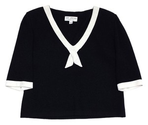 St. John Black White 1/2 Sleeve Knit Sweatshirt