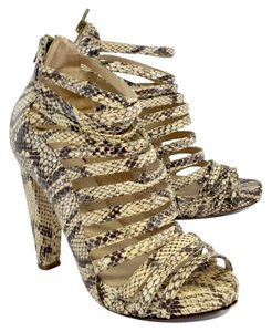 Loeffler Randall Snakeskin Leather Strappy Heels Sandals