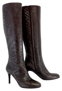 Cole Haan Brown Ostrich Leather Boots