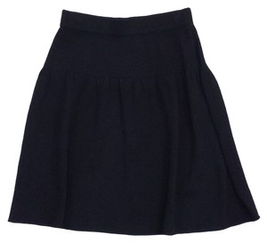 St. John Black Knit Flared Skirt