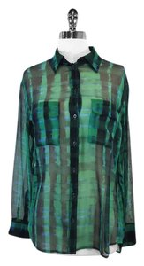 Equipment Green Black Print Silk Top