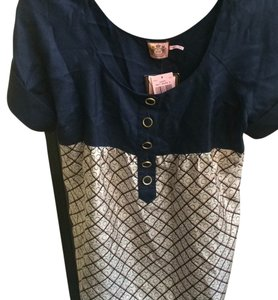 Juicy Couture Top Navy, white, pink, gold hardware