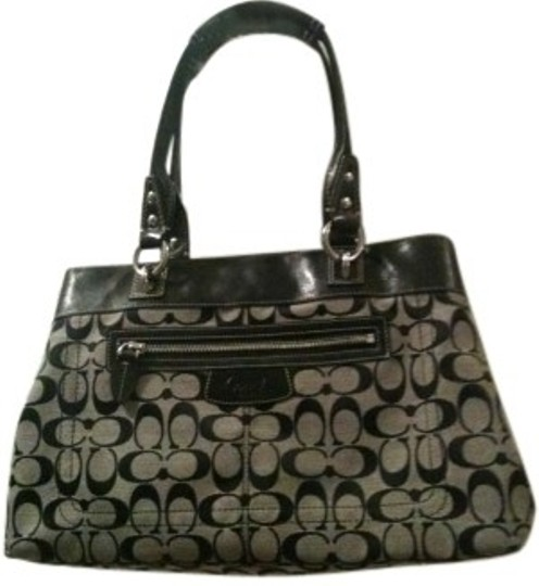 Preload https://item1.tradesy.com/images/coach-black-and-grey-signature-fabric-shoulder-bag-140590-0-0.jpg?width=440&height=440