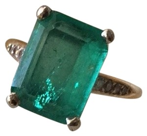 Edwardian Emerald Ring, size 7 Emerald And Diamond Ring