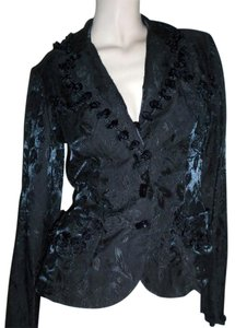Anna Sui Fitted Embossed Black Blazer