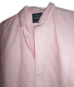 American Eagle Outfitters Men's America Ae Button Down Shirt PINK AND WHITE