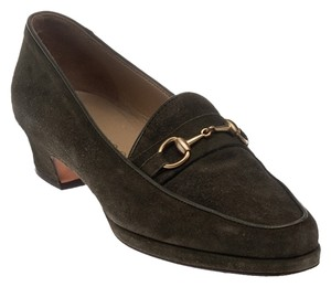 Gucci Green Suede Pointed Toe Horsebit Loafers Olive Green Pumps