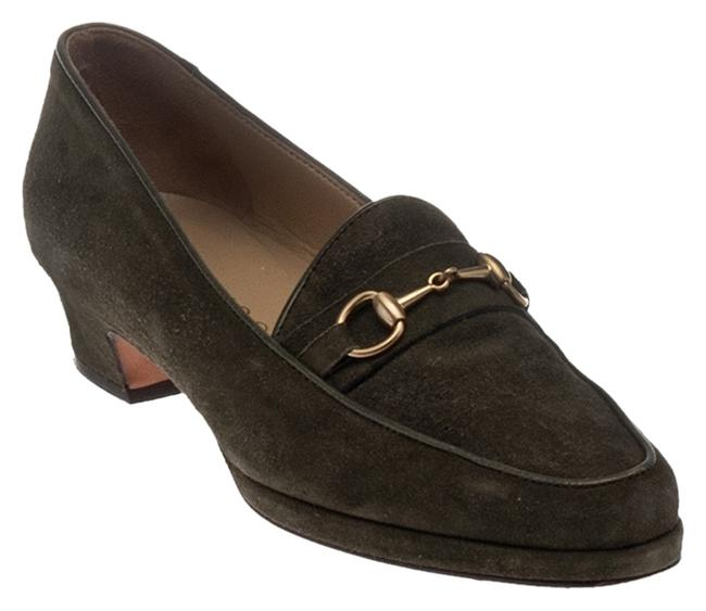 Item - Olive Green Horsebit Suede Pointed Toe Loafers 8aa(22032) Pumps Size US 8 Narrow (Aa, N)