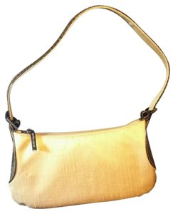 Bruno Magli Snakeskin Silk Gold Pewter Shoulder Bag
