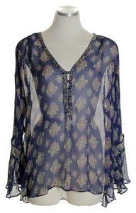 Calypso St. Barth Bell Sleeve Sheer Silk Boho Top Blue