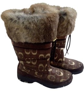 Coach Winter Brown and Gold Boots