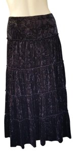 Grace Elements Prairie Crushed Velvet Pull-on Skirt Black