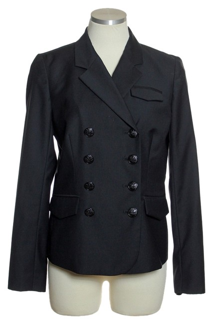 J.Crew Wool Double Breasted Long Sleeve Black Blazer Image 0