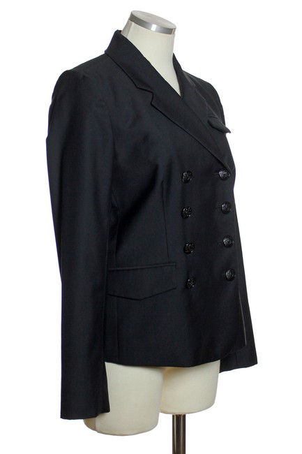 J.Crew Wool Double Breasted Long Sleeve Black Blazer Image 1