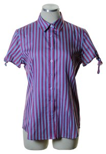 Thomas Pink Striped Fitted Button Down Shirt Blue/Pink