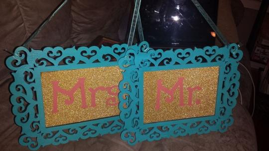 Turquoise Coral and Gold Mr. Mrs. Signs Reception Decoration