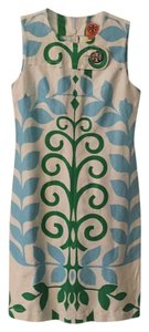 Tory Burch short dress White with green and blue on Tradesy