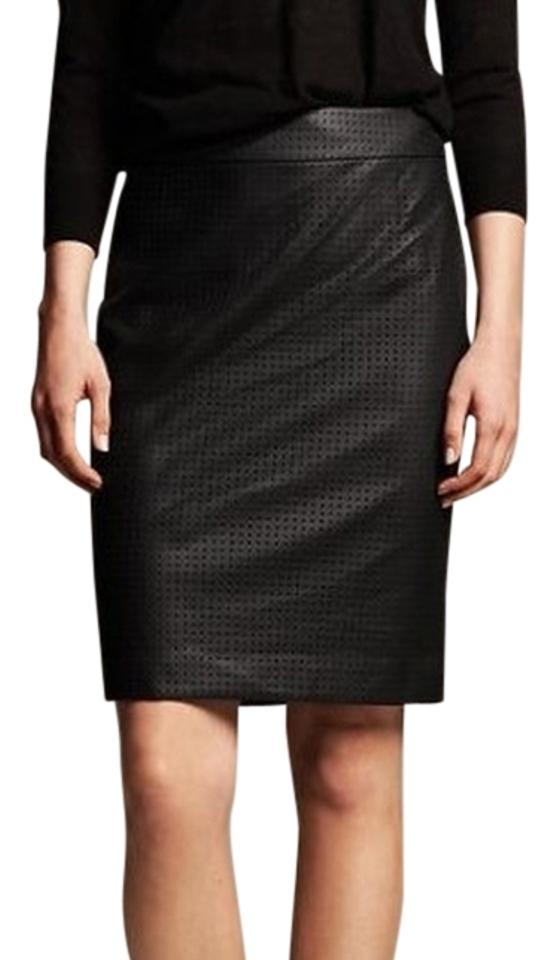 36954c1875f9 Banana Republic Perforated Faux Leather Pencil Petite Skirt Black Image 0  ...