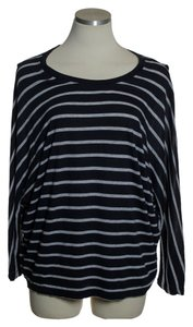 Vince Pima/modal Dolman Knit Striped T Shirt Blue/Gray