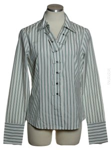 Doncaster Silk Blend Striped Fitted Button Down Shirt Ivory/Green