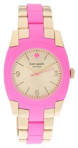 Kate Spade Kate Spade 1YRU0163 Skyline Gold SS Pink Polycarbonate Watch NEW