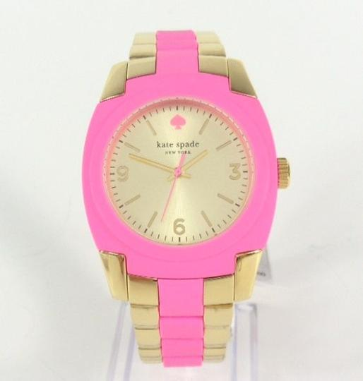 Kate Spade Kate Spade 1YRU0163 Skyline Gold SS Pink Polycarbonate Watch NEW Image 2