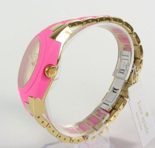 Kate Spade Kate Spade 1YRU0163 Skyline Gold SS Pink Polycarbonate Watch NEW Image 4