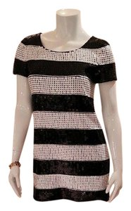 Rachel Zoe Sequin Striped Mini Black And White Short Sleeve Dress