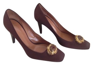 Giuseppe Zanotti Satin Crystals Brown Embellished Brown Satin Pumps