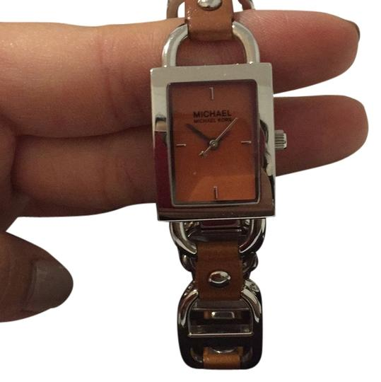 Preload https://img-static.tradesy.com/item/14064289/michael-michael-kors-dark-tan-leather-and-stainless-steel-chain-link-watch-0-1-540-540.jpg