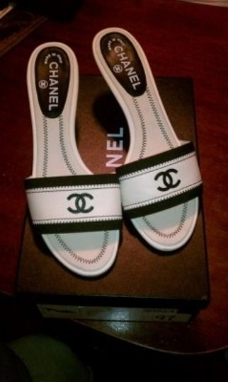 Chanel White and Black Mules