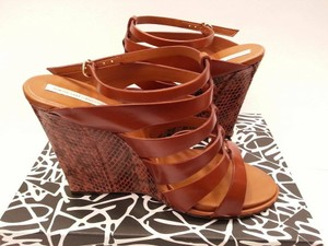 Diane von Furstenberg Leather Python Sandal Animal Print Brown Wedges