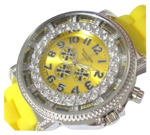 Techno King SUMMER SALE New Unisex Yellow & Silver Stainless Steel Light Up Silicon Watch