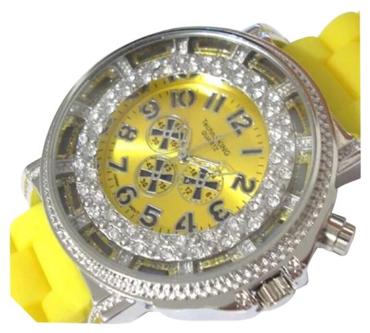 Techno King SUMMER SALE New Unisex Yellow & Silver Stainless Steel Light Up Silicon Watch Image 0