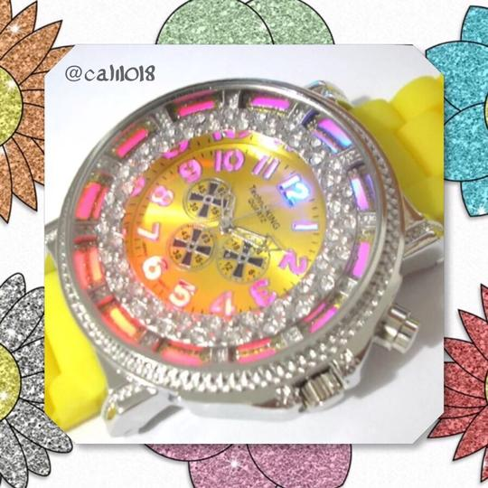 Techno King SUMMER SALE New Unisex Yellow & Silver Stainless Steel Light Up Silicon Watch Image 1