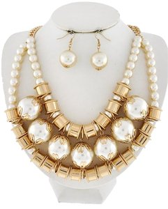Gold Tone Cream Synthetic Pearl Necklace & Earring Set