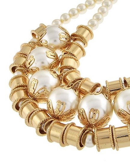Other Gold Tone Cream Synthetic Pearl Necklace & Earring Set