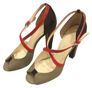 Jill Stuart Leather Color-blocking Crisscross Strap Gray, Red, and Black Sandals