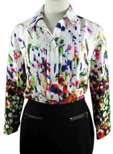 Chelsea & Theodore Floral Spring Career Tuxedo Button Down Shirt multi-colored