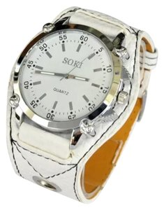 New WhiteOversized Unisex Faux Leather Watch 5 Star Item