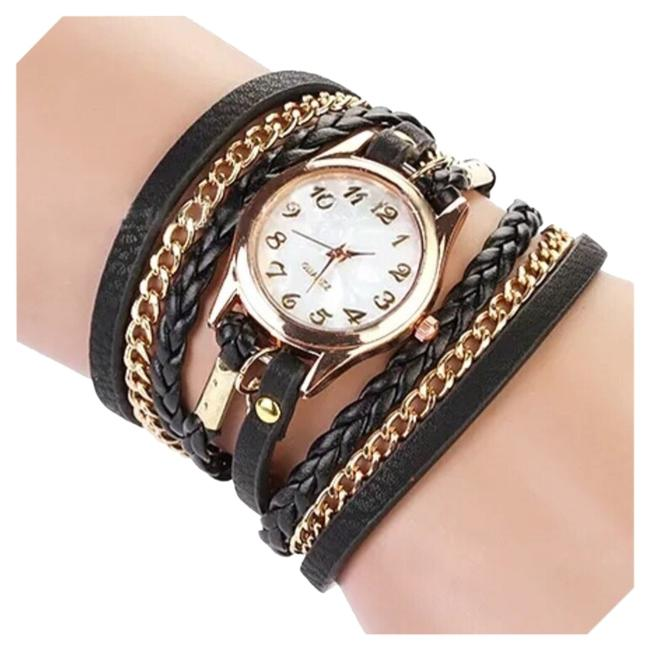 Black & Gold New Chain Wrap Watch Black & Gold New Chain Wrap Watch Image 1