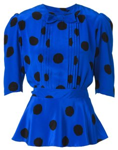 Vintage Polkadot Top Blue with Black Polkadots
